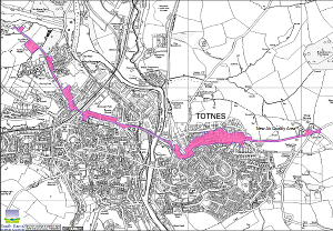A map of the area of Totnes currently subject to an Air Quality Management plan