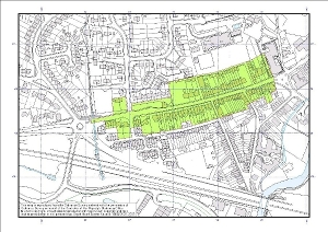 Map of the area of Ivybridge currently subject to an Air Quality Management plan