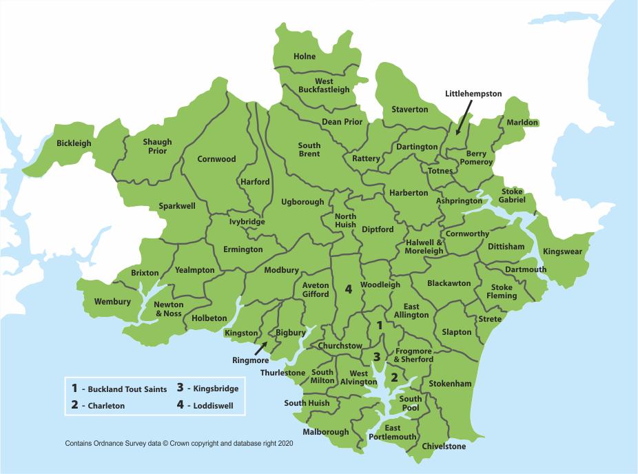 South Hams Ward map