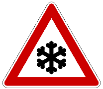 A red warning triangle with a stylised snowflake image and the word Ice below.