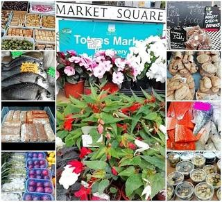 A montage of images from Totnes markets, including fruit and vegetables, fish, pies and flowers