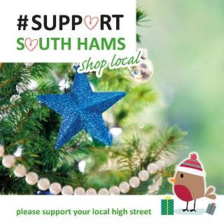 """A image of a Christmas tree decorated with a blue star and the message """"Support South Hams - shop local"""""""