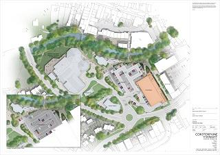An artists impression of the proposed changes to Leonard's Road area in Ivybridge, seen from above