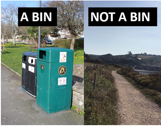 """A picture of a black wheelie bin next to a picture of a country lane. The bin has the caption """"a bin"""" while the country lane has the caption """"not a bin."""""""