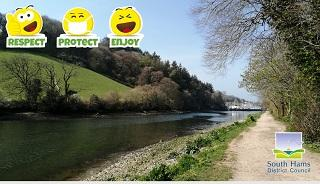 """An image of the River Dart, with the tagline """"Respect, Protect and Enjoy"""" and the South Hams District council logo."""