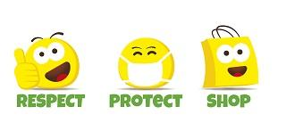 "A series of three yellow emojis with the tagline ""respect, protect, shop"""